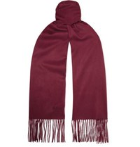 Mulberry Logo Embroidered Fringed Cashmere Scarf Crimson