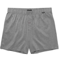 Hanro Triped Merceried Cotton Boxer Hort Gray