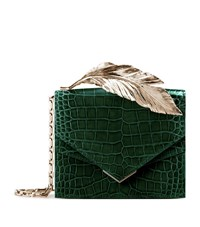 Ralph And Russo Alina Alligator Feather Clutch Female Green