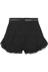 Zimmermann Caravan Pompom Trimmed Broderie Anglaise Cotton Shorts Black