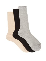 Raey Set Of Three Silk Socks Nude Multi