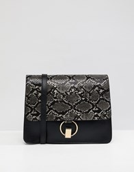 Warehouse Snake Panel Satchel Bag In Black