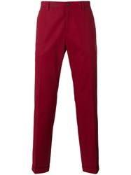 Dolce And Gabbana Classic Chino Trousers Red