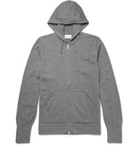 Officine Generale Merino Wool Zip Up Hoodie Gray