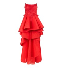 Mikael D Floral Applique High Low Gown Female Red