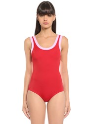 Valentino Two Tone Lycra Swimsuit Red Pink