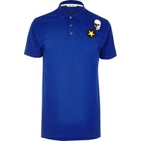 Only And Sons River Island Mens Blue Badge Polo Shirt