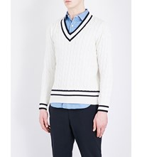 United Arrows Cable Knit Cotton Blend Jumper White
