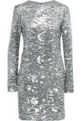 Sonia Rykiel Woman Sequined Tulle Mini Dress Silver