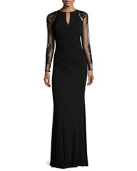 David Meister Sheer Sleeve Jersey Column Gown Black