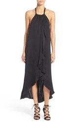Ella Moss Ruffle Halter Hi Lo Dress Black