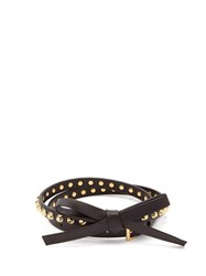 Prada Bow Studded Leather Belt Black