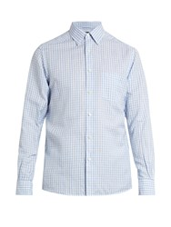 Ermenegildo Zegna Cotton And Linen Blend Checked Shirt Blue White