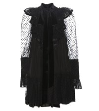 Marc Jacobs Taffeta Dress With Tulle Fil Coupe Black
