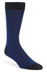 Pantherella Men's Farringdon Stripe Socks Navy Cobalt