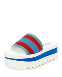 Stella Mccartney Striped Fabric Platform Slide Sandal Garn Pervin Blue Red