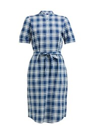 A.P.C. Clea Checked Shirtdress Blue