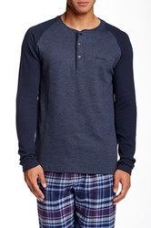 Kenneth Cole Punch Knit Henley Tee Blue