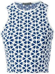 Alexander Mcqueen Embossed Cut Out Flower Jacquard Tank Top Blue