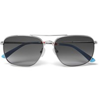 Orlebar Brown Square Frame Metal Sunglasses Silver