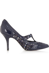 Tory Burch Everly Metallic Tweed And Patent Leather Pumps Blue