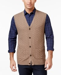 Tasso Elba Men's Big And Tall Chevron Sweater Vest Only At Macy's Cocoa Bean Heather