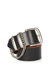 Topshop Chain Detail Real Leather Belt Black