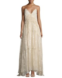 Haute Hippie Tunnels Of Love Flocked Floral Gown Antique White