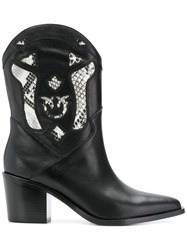 Pinko Cowgirl Ankle Boots Black
