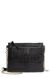 Leith Croc Embossed Double Pouch Crossbody Bag Black