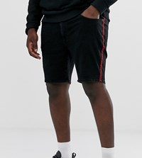 Jacamo Denim Shorts With Side Taping In Black