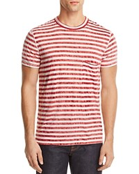 7 For All Mankind Tie Dyed Striped Tee Red