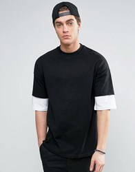 Asos Oversized T Shirt With Contrast Layer Half Sleeve Black