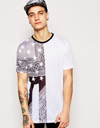 Asos Longline T Shirt With Bandana Flag Print In Relaxed Skater Fit White