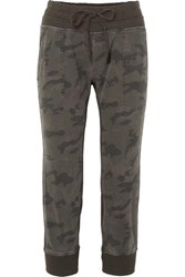 James Perse Camouflage Print Cotton Jersey Track Pants Green