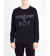 Boy London Logo Detail Cotton Jersey Sweatshirt Black