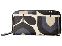 Orla Kiely Matt Laminated Stripe Tulip Print Big Zip Wallet Dusk Wallet Handbags Pink