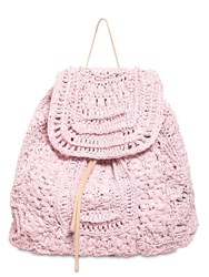 Alberta Ferretti Viscose Crochet And Leather Backpack Pink