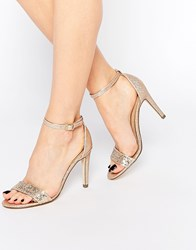 Call It Spring Waylanda Gold Two Part Heeled Sandals Gold