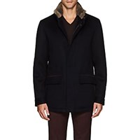 Barneys New York Ortles Water Repellent Cashmere Coat Navy