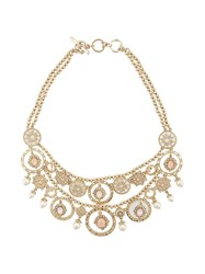 Marchesa Notte Faux Pearl And Crystal Collar Yellow