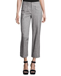 Atm Anthony Thomas Melillo Cropped Tweed Wide Leg Pants Gray Light Gray
