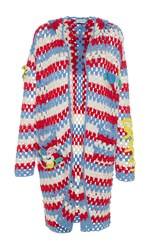 Mira Mikati Striped Crochet Hooded Cardigan White Blue Red