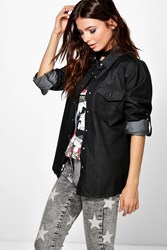 Boohoo Slim Fit Denim Shirt Black