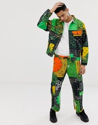 Jaded London Cargo Trousers In Green And Yellow Dragon Paisley Print