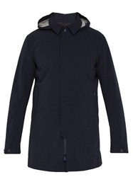 Herno Sky Line Hooded Coated Cotton Jacket Navy