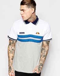 Ellesse Polo Shirt With Chest Stripes White