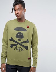 Aape By A Bathing Ape Sweatshirt With Large Logo Green