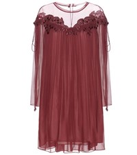 Chloe Lace Trimmed Silk Dress Red