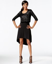 Karen Kane Sequin Top High Low Dress Black
